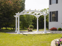 PERGOLAS Cape Cod 10 Fiberglass Arched White Pergola w/6 Top Beams