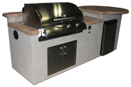 GRILLS & OUTDOOR KITCHENS San Tropez Outdoor Kitchen w/Mocha Supercast Top, Ameristone Tan Stucco