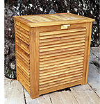 TEAK FURNITURE-MATS-TILES Teak Laundry Basket or Hamper, oiled -