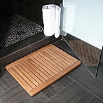 TEAK FURNITURE-MATS-TILES Teak Shower & Floor Mat Rectangle Framed Rounded Corners, Natural Finish